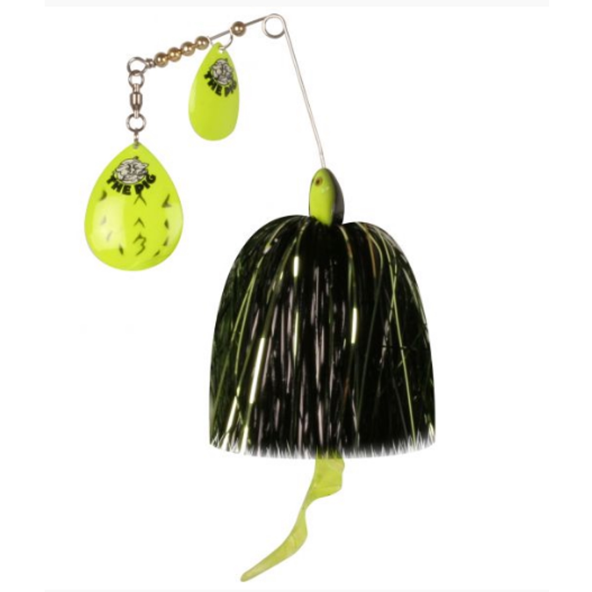 CWC Pig Spinnerbait Fluo Chart Black Dot - Green/Black/Silver