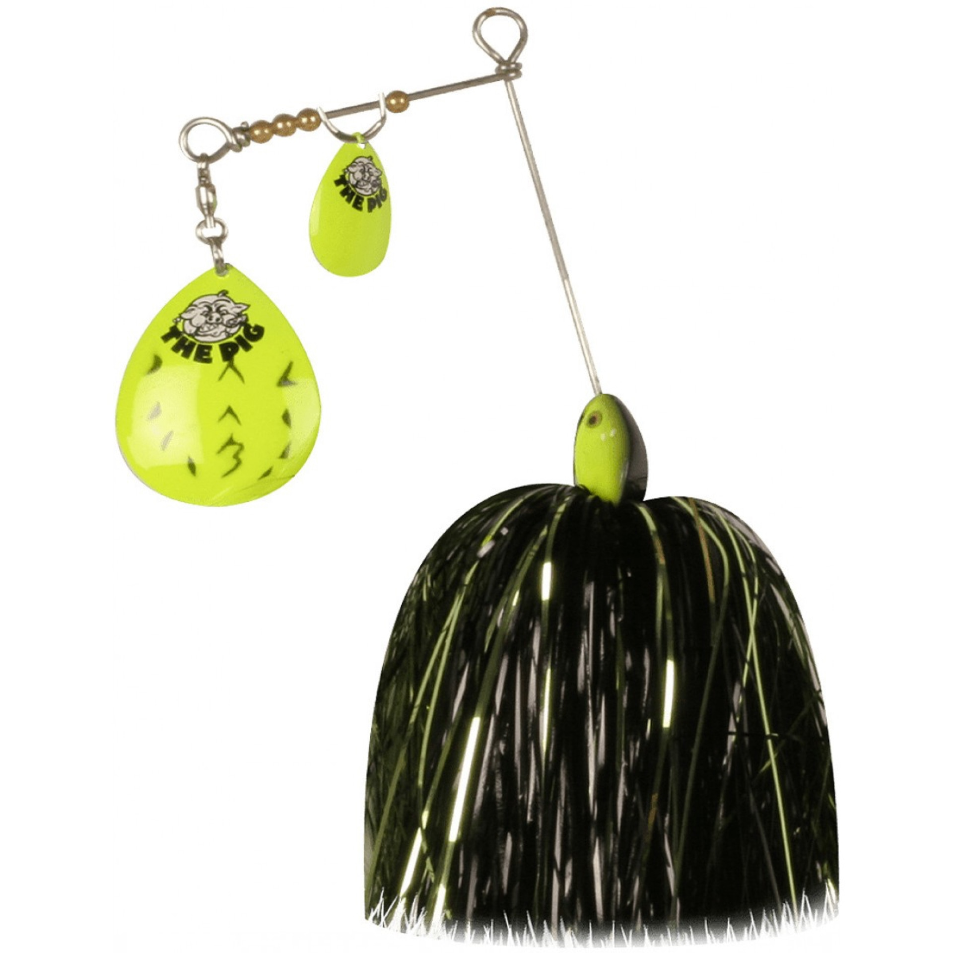 CWC Pig Spinnerbait Jr. Fluo Chart Black Dot - Green/Black/Silver