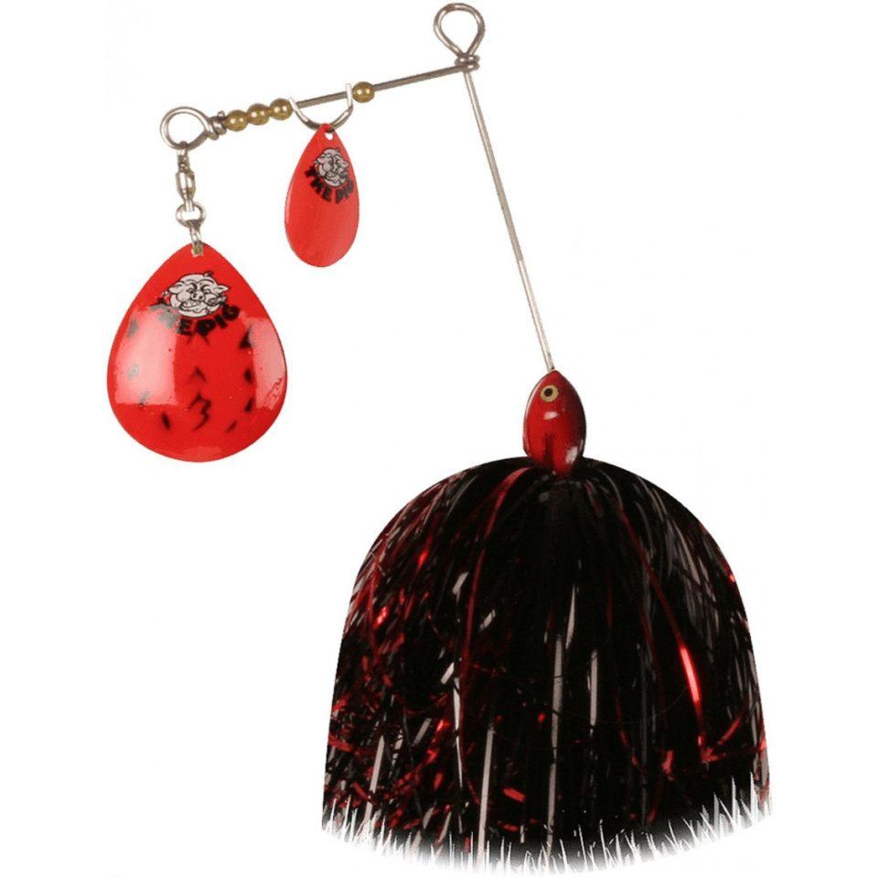 CWC Pig Spinnerbait Jr. Hot Red Black Dot - Red/Black/Silver